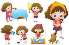 Kleines Mädchen, das unterschiedliche Hausarbeit tut vektor abbildung