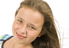 Kleines Mädchen, das wie A gewachsenes Modell aufwirft Stockfoto