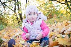 Kleines Mädchen in den Blättern Stockbild