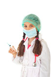 Kleines Mädchen in der Doktoruniform Lizenzfreies Stockbild