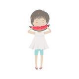 Kleines Mädchen der netten Karikatur, das Wassermelone isst vektor abbildung