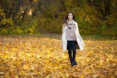 Kleines Mädchen der Schönheit, das in Herbstpark geht lizenzfreie stockfotografie
