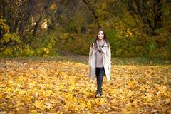 Kleines Mädchen der Schönheit, das in Herbstpark geht lizenzfreie stockfotos