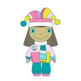 Kleines Mädchen in der warmen Spitzenkleidung und im Hut Stockbild