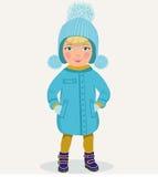 Kleines Mädchen in der Winterkleidung Stockfotografie