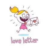 Kleines Mädchen des Liebesbriefs in der Liebe Stockbilder