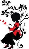 Kleines Mädchen des Schattenbildes mit Liebesbrief Lizenzfreies Stockbild