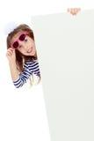 Kleines Mädchen in einem gestreiften Kleid Lizenzfreie Stockfotos