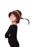 Kleines Mädchen in einem Hutjäger Stockbild