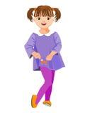 Kleines Mädchen in einem Kleid mit Tasche Lizenzfreie Stockfotografie