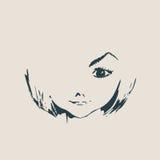 Kleines Mädchen Front View Silhouette Stockfoto