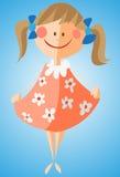 Kleines Mädchen in geblühtem Kleid Stockfotos