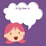 Kleines Mädchen-Gesicht mit leerer Sprache-Blase Stockfotos