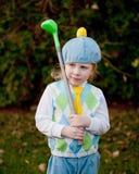 Kleines Mädchen-Golfspieler mit Verein Lizenzfreies Stockfoto