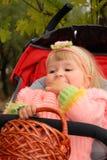Kleines Mädchen am Herbst Stockbild