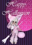 Kleines Mädchen-Hexe-glücklicher Halloween-Hintergrund Stockfotografie