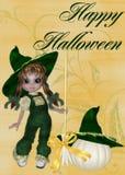 Kleines Mädchen-Hexe, Kürbis u. glückliches Halloween Lizenzfreie Stockfotografie
