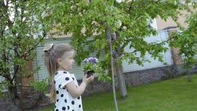 Kleines Mädchen holen sorgfältig Blumen in den Händen stock video