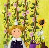 Kleines Mädchen im Garten mit rosafarbenen Blumen Stockfotos