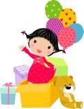 Kleines Mädchen im geöffneten Geschenkkasten Stockfotografie