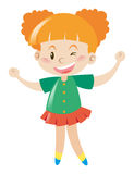 Kleines Mädchen im grünen Hemdlächeln Stockbilder