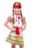 Kleines Mädchen im nationalen ukrainischen Kostüm Stockfotos