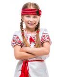 Kleines Mädchen im nationalen ukrainischen Kostüm Lizenzfreie Stockfotos