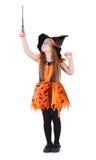 Kleines Mädchen im orange Kostüm der Hexe für Halloween Lizenzfreies Stockfoto