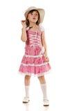 Kleines Mädchen im rosafarbenen Kleid und im Hut Lizenzfreies Stockfoto