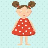 Kleines Mädchen im roten Kleid Hübsches, nettes Spielzeug E Lokalisiertes Bild Vektor Stockfotografie