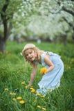 Kleines Mädchen 5 Jahre alt, einen Löwenzahn schnüffelnd stockfotos