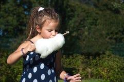 Kleines Mädchen, Kind, sonniger Tag, Park, Natur, Zuckerwatte essend, langes Haar Stockfotografie