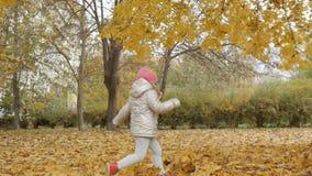 Kleines Mädchen läuft auf gelben Blättern im Herbstpark stock video