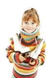 Kleines Mädchen mit Abbildung Rochen Stockfoto