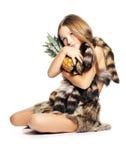 Kleines Mädchen mit Ananas Stockfotografie