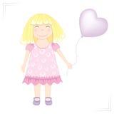 Kleines Mädchen mit Ballon. lizenzfreie abbildung