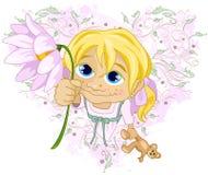 Kleines Mädchen mit Blume Stockfoto