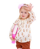 Kleines Mädchen mit Buch in der Hand Lizenzfreie Stockfotografie