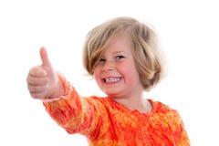 Kleines Mädchen mit dem Daumen oben Lizenzfreie Stockbilder
