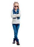 Kleines Mädchen mit dem Daumen oben Lizenzfreies Stockfoto