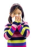 Kleines Mädchen mit der Grippe Stockbild