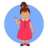 Kleines Mädchen mit der Hand oben Stockfoto