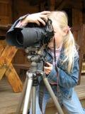 Kleines Mädchen mit der Kamera Stockbilder