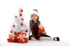 Kleines Mädchen mit einem Baum und einem Geschenk Lizenzfreie Stockfotografie