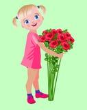 Kleines Mädchen mit einem Blumenstrauß von Rosen Lizenzfreie Stockfotografie