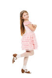 Kleines Mädchen mit einem Diadem lokalisiert stockfoto