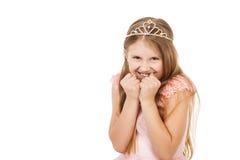 Kleines Mädchen mit einem Diadem lokalisiert lizenzfreie stockbilder