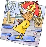 Kleines Mädchen mit einem Regenschirm Stock Abbildung