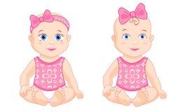 Kleines Mädchen mit einem rosa Bogen lizenzfreie abbildung