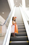 Kleines Mädchen mit Einkaufstasche Stockfotografie